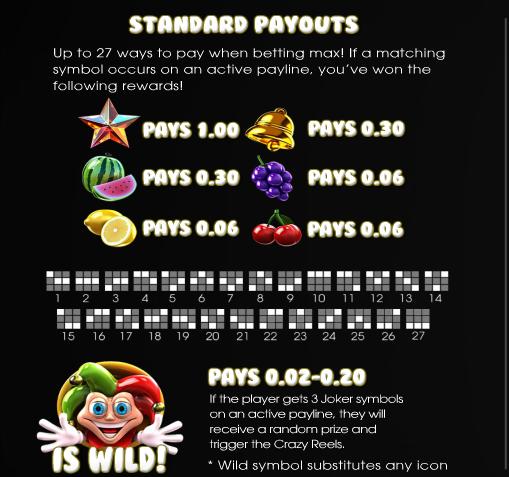 Crazy Jackpotten 60000 standard payouts